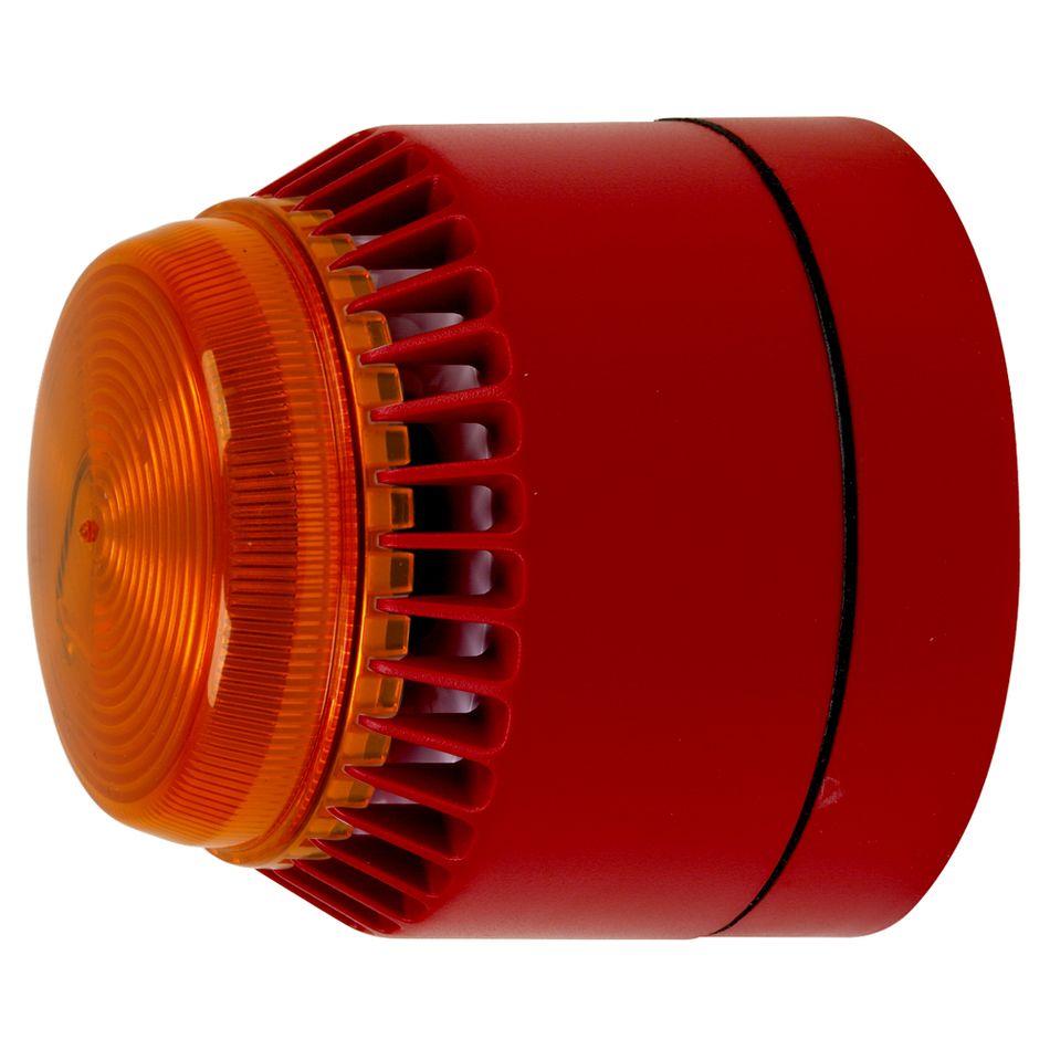 CA-FL-O-L-R-24V Avertisseur sonore et lumineux, boîtier rouge, clignottement orange
