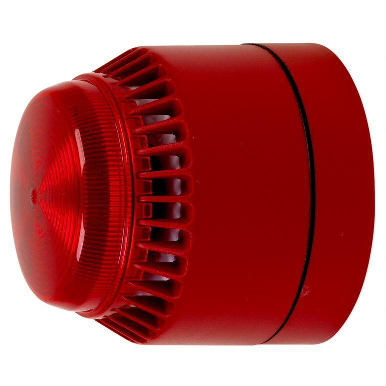 CA-FL-R-L-R-24V Avertisseur sonore et lumineux, boîtier rouge, clignottement rouge