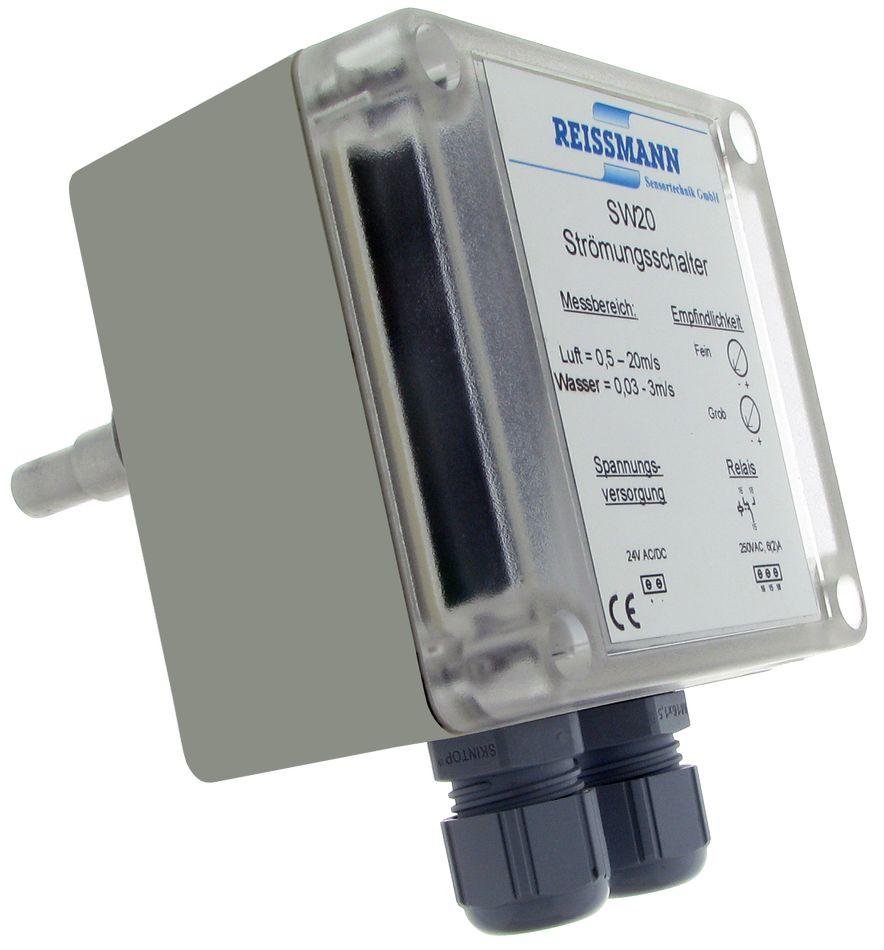 SW20-DC_005663 Contrôleur de débit électronique, pour air ou eau, longueur 150mm, sortie TOR